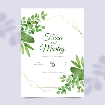 Beautiful wedding invitation template with floral ornaments