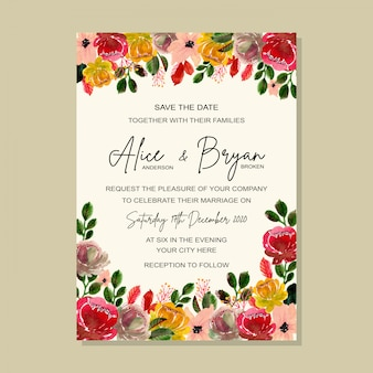 Beautiful wedding invitation template with floral watercolor