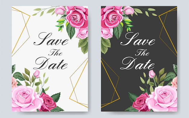 Beautiful wedding invitation template with flowers