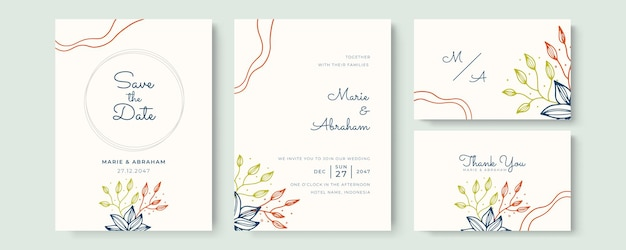 Beautiful wedding invitation template with hand drawn floral and leaves in soft pastel color