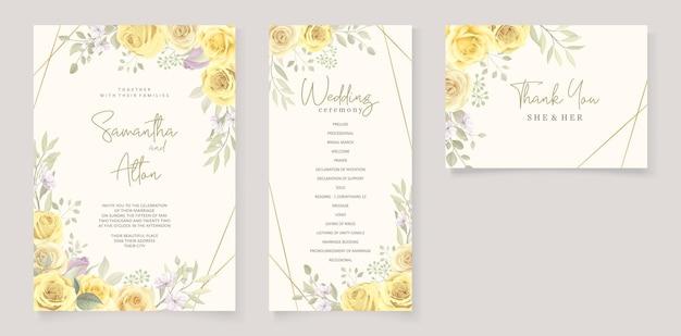 Красивый шаблон свадебного приглашения с рисованной желтыми розами