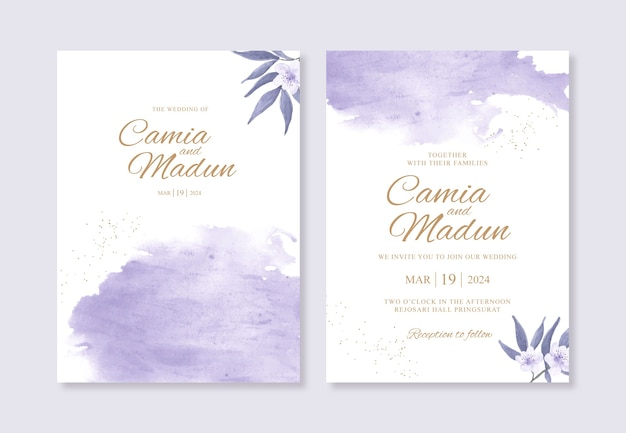 手描きの水彩スプラッシュと美しい結婚式の招待状のテンプレート