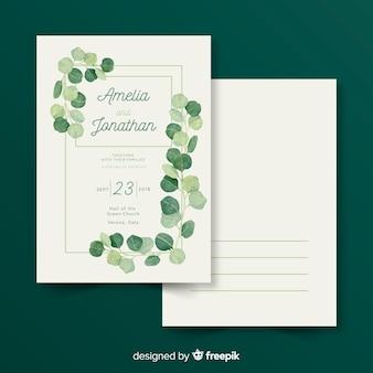 美しい結婚式招待状テンプレートの葉