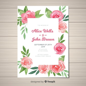 Beautiful wedding invitation template with peony flowers concept