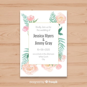 Beautiful wedding invitation template with peony flowers