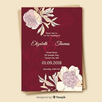 모란 꽃과 함께 아름 다운 결혼식 초대장 템플릿