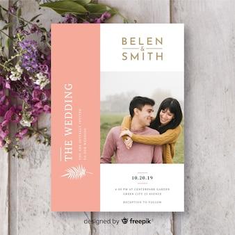 Beautiful wedding invitation template with photo