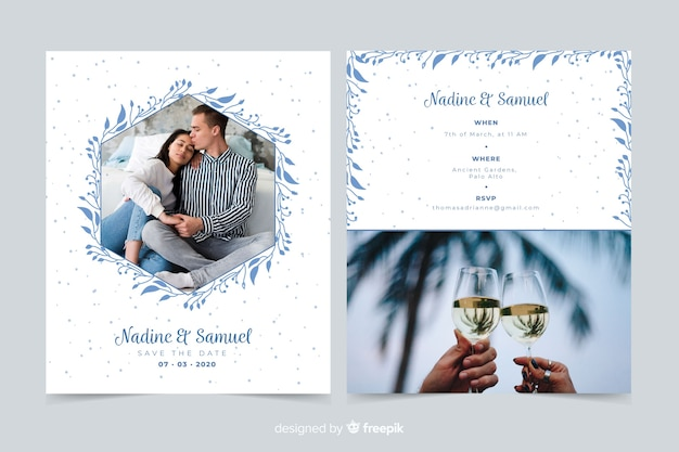Beautiful wedding invitation template with photo