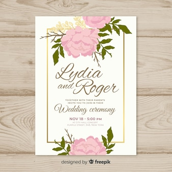 Beautiful wedding invitation template with roses