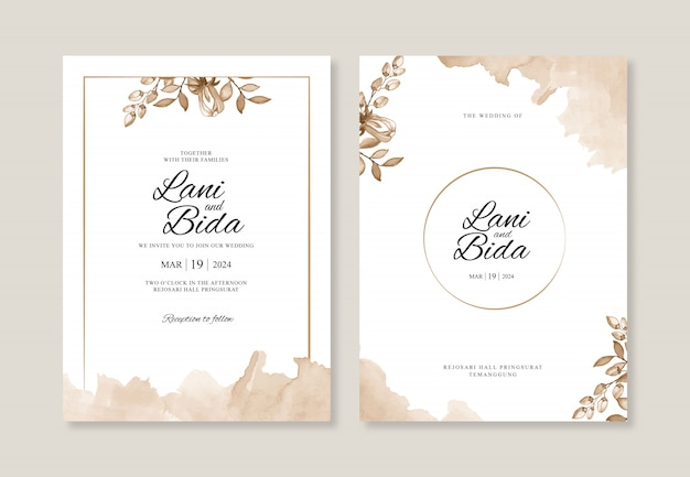 水彩花とスプラッシュの美しい結婚式の招待状のテンプレート
