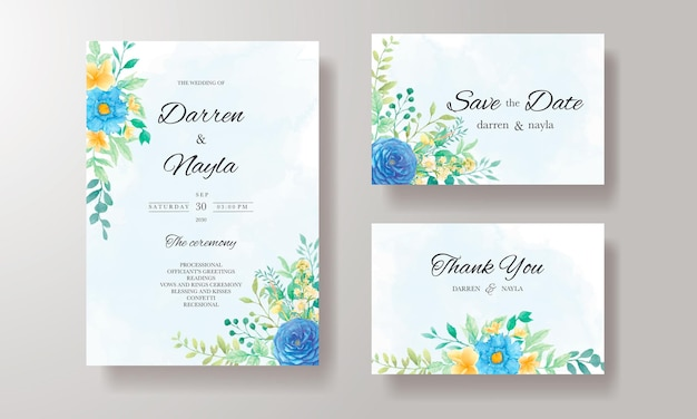 水彩花と葉の美しい結婚式の招待状のテンプレート