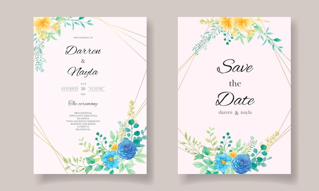 Beautiful wedding invitation template with watercolor flowers and leaves