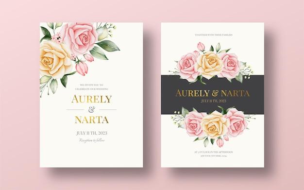 Красивый шаблон свадебного приглашения с акварельными цветами