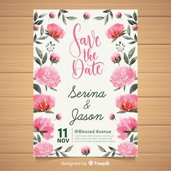수채화 모란 꽃과 함께 아름 다운 결혼식 초대장 템플릿