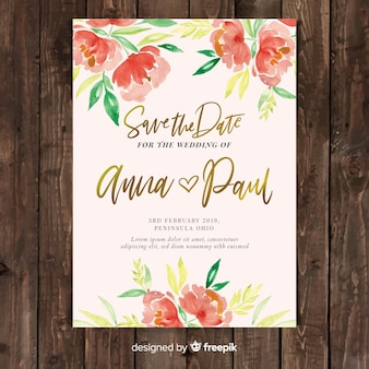 Beautiful wedding invitation template with watercolor peony flowers