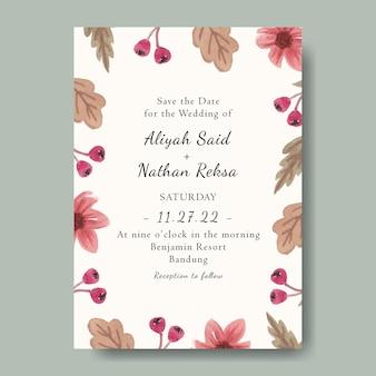 편집 가능한 수채화 핑크 꽃 배경으로 아름 다운 청첩장 템플릿