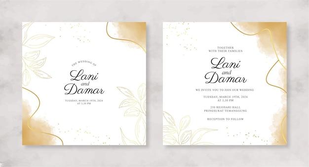 Красивый шаблон свадебного приглашения с акварельным всплеском