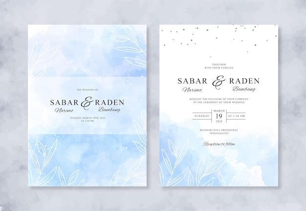 水彩スプラッシュと美しい結婚式の招待状のテンプレート