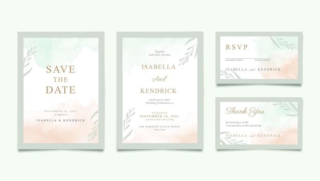 수채화와 아름 다운 결혼식 초대장 서식 파일