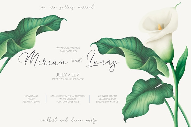 Beautiful wedding invitation template with white lilies
