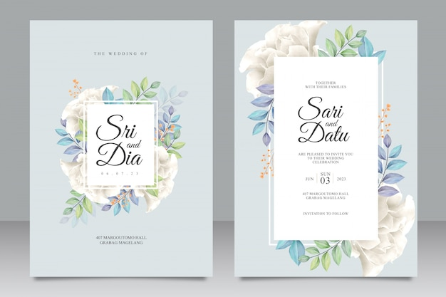 Beautiful wedding invitation template with white roses bouquet