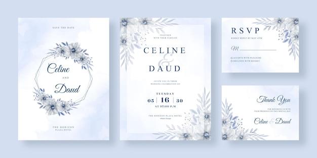 花輪の花の水彩画と美しい結婚式の招待状のテンプレート