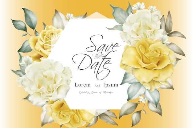 Beautiful wedding invitation template with yellow flowers