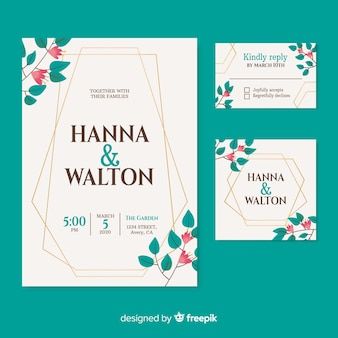 Beautiful wedding invitation on turquoise background