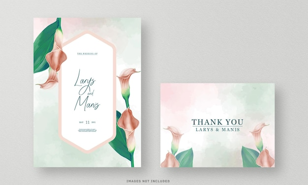 The beautiful wedding invitation watercolor and thank you card