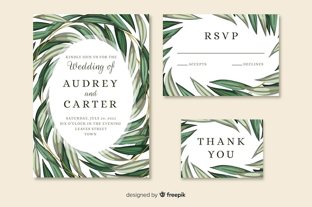 Beautiful wedding invitation with artistic painted leaves