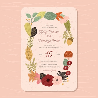 Beautiful wedding invitation with autumn floral frame