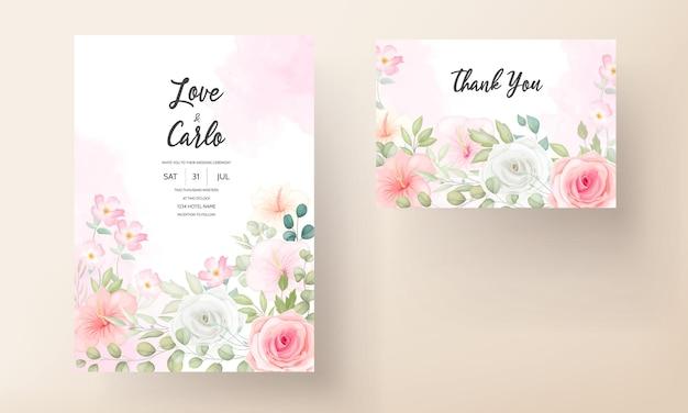 美しい花と美しい結婚式の招待状