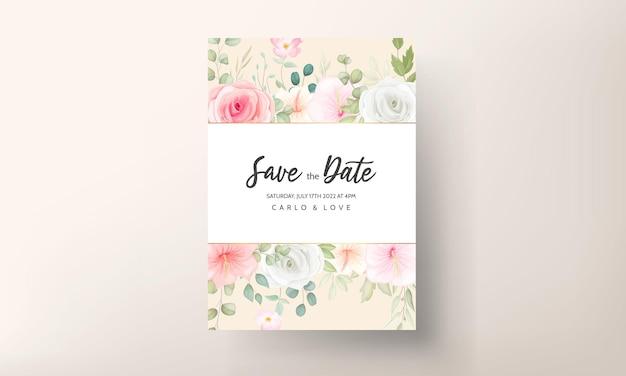 Красивое свадебное приглашение с красивыми цветами