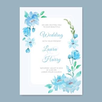 青い花の美しい結婚式の招待状
