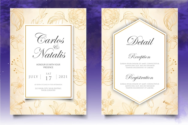 Beautiful wedding invitation with floral elements background