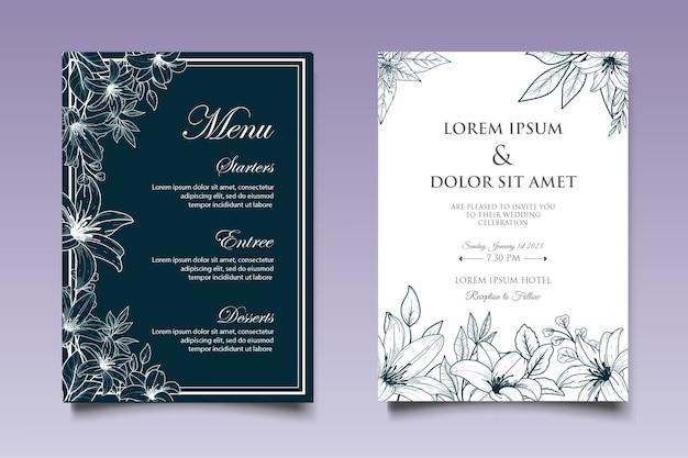 花の要素の背景を持つ美しい結婚式の招待状