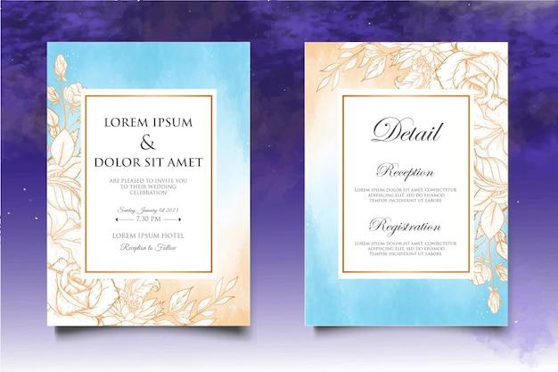 Красивое свадебное приглашение с цветочными элементами