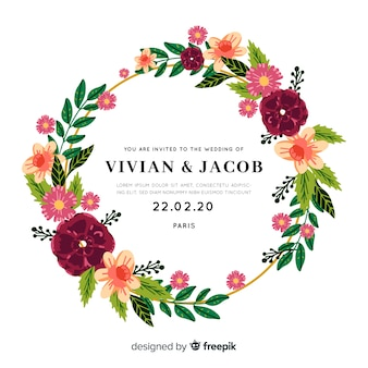 Beautiful wedding invitation with floral frame