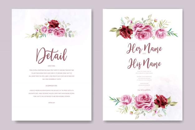 Beautiful wedding invitation  with floral and leaves