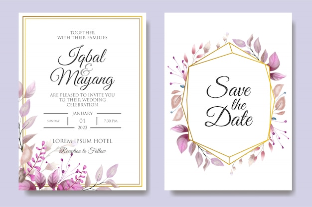Beautiful wedding invitation with floral leaves