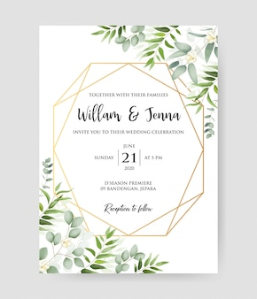 Beautiful wedding invitation with geometric gold frame and eucalyptus branches decorative wreath & frame pattern.