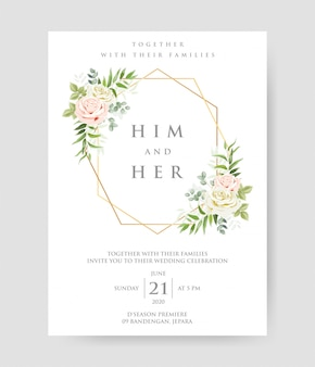 Beautiful wedding invitation with geometric gold frame and roses branches decorative wreath & frame pattern.