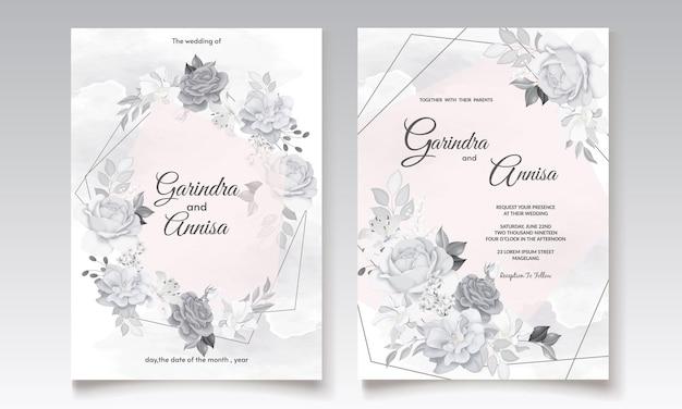 회색 꽃과 잎 템플릿 세트와 아름 다운 청첩장