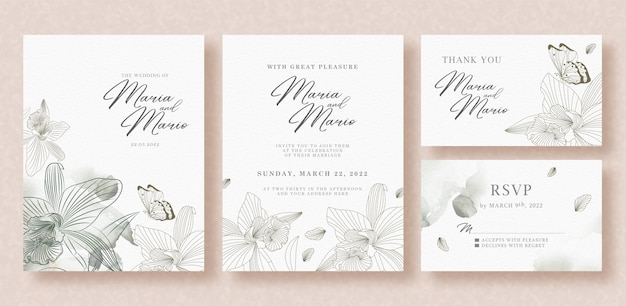 Beautiful wedding invitation with grey floral and butterflies template