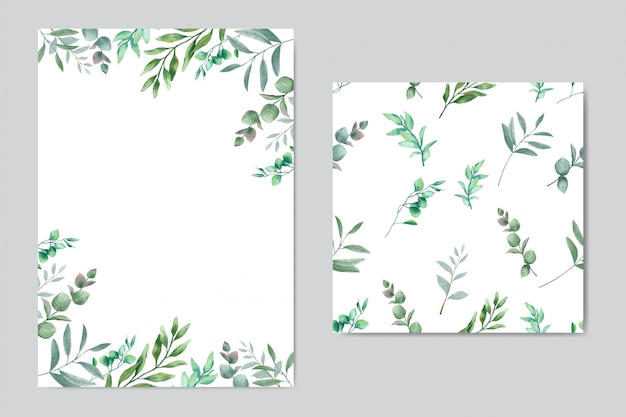 Beautiful wedding invitation with leaves background & seamless