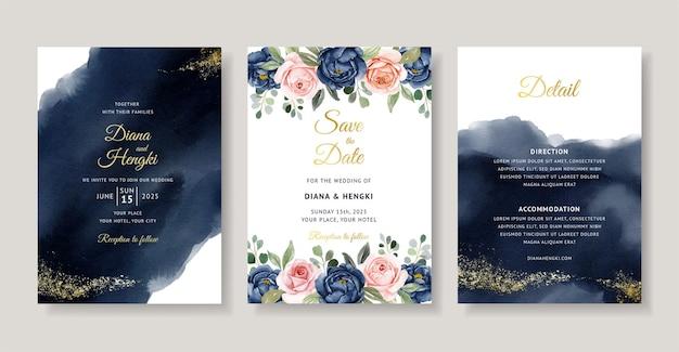 ネイビーの花の水彩画と美しい結婚式の招待状