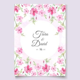 ピンクの花の美しい結婚式の招待状
