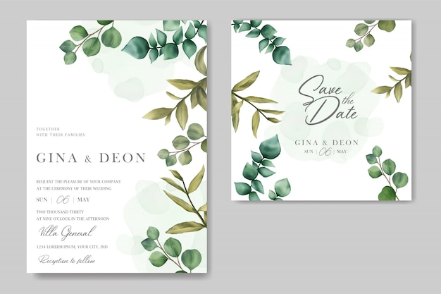 Beautiful wedding invitation with save the date card