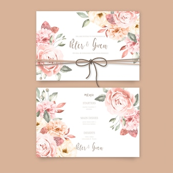 Beautiful wedding invitation with vintage flowers