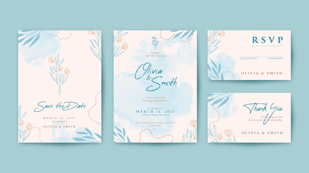 Beautiful wedding invitation with watercolor background